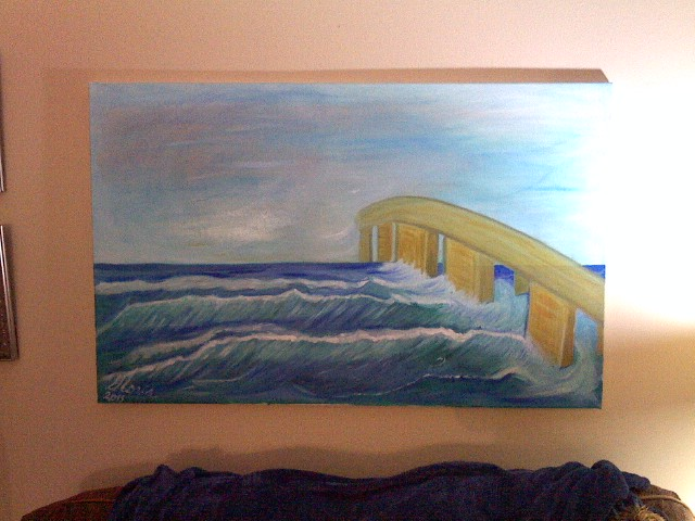 Ocean and Pier oil Painting by Gloria Poole