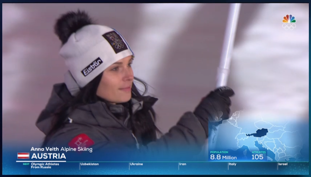 PyeongChang 2018 Winter Olympics Opening Ceremony Austria flag bearer holder anna Veith Alpine skiing