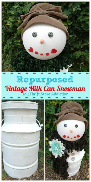 repurposed vintage milk can snowman
