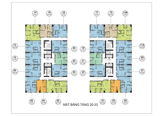 Mặt bằng tầng căn hộ 20-33 tòa HH3 FLC Garden City