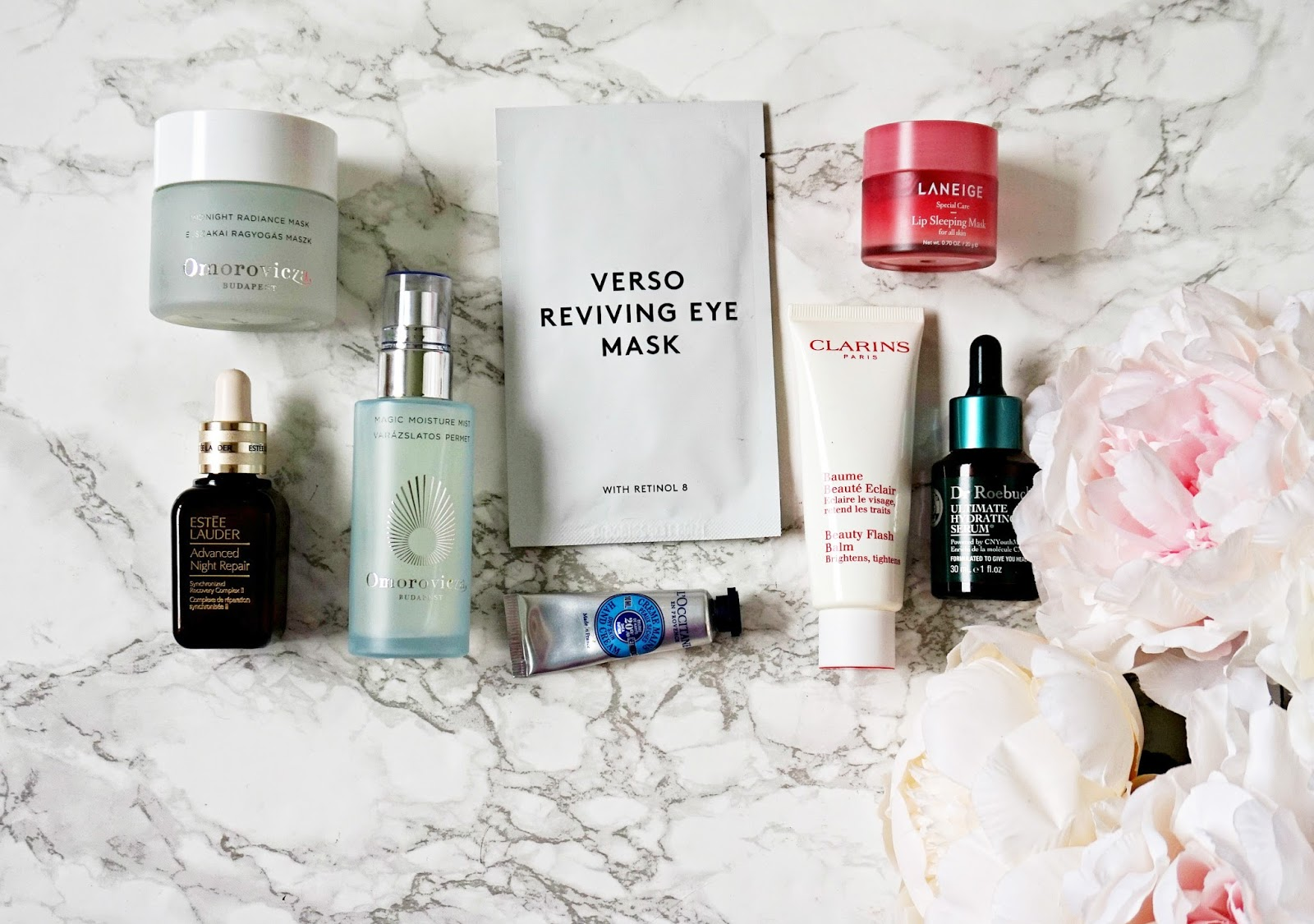 Verso Reviving Eye Mask, Clarins Beauty Flash Balm, Omorovicza Magic Moisture Mist, Laneige Lip Mask, Omorovicza, Midnight Radiance, Estée Lauder Advanced Night Repair, Dr Roebuck's Ultimate Hydrating Serum, L'occitane, Hand Cream