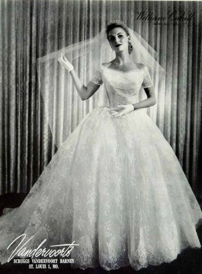 William Cahill Wedding Dress in Dotted Swiss Vandervoots, St. Louis, Mo. 1955