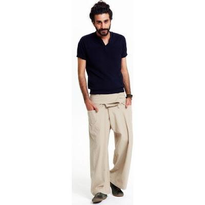 Balıkçı pantolonu krem rengi