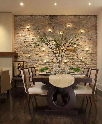 material batu di ruang makan