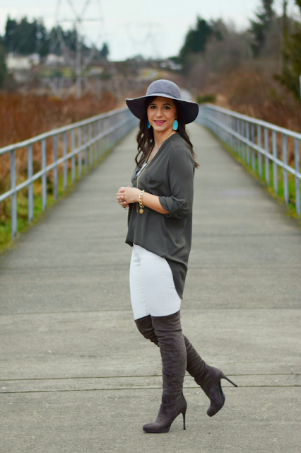 Affordable Over the Knee Boots with Gray Floppy Felt Hat