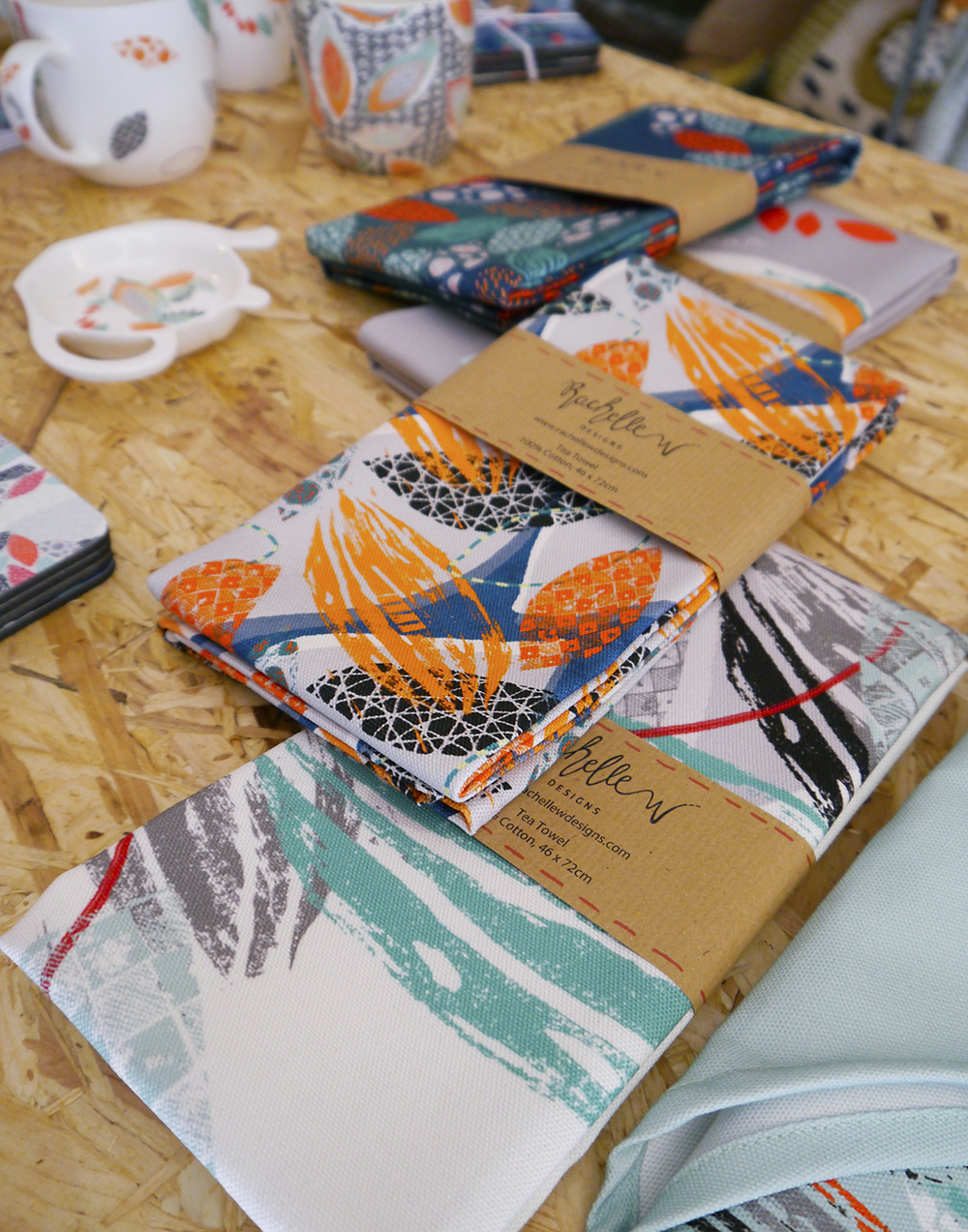 Tea Green Events, Concept Atelier, pop up shop, Dundee, The Old Flour Mill, Tea Green, Scottish design, Scottish designers, Dundee designers, Dundee bloggers, Scottish bloggers, Rachelle W Designs, colourful tea towels, printed textiles, printed mugs, colourful coasters, homewear