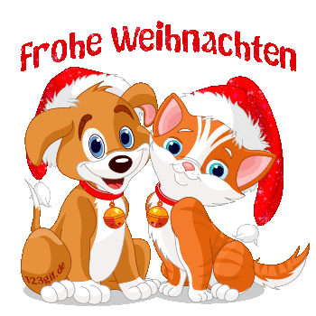 Christmas Dog And Cat Clip Art