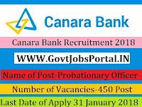 Canara Bank Recruitment 2018 – 450 Probationary Officer