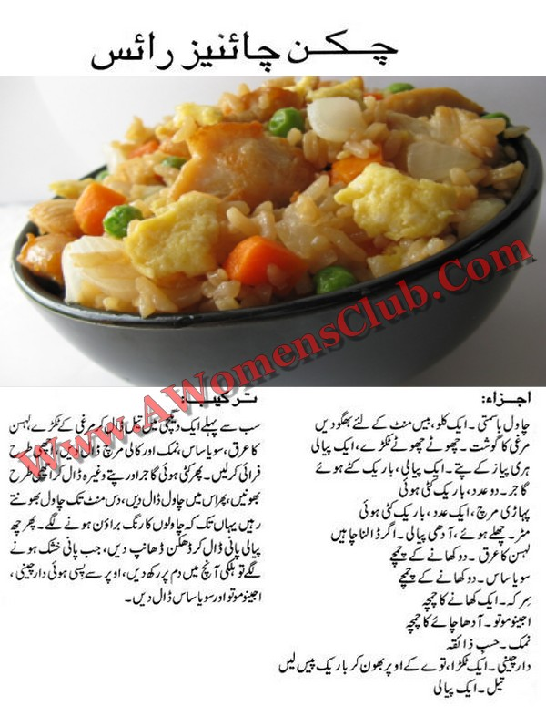 World Recipe Book Chicken Chinese Rice Recipe In Urdu Pakistani Food