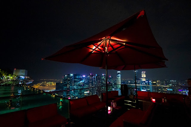 Panorama dalla terrazza e piscina del Marina bay Sands-Singapore