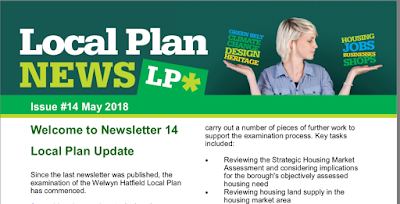 Screen grab of the Welwyn Hatfield Local Plan newsletter for May 2018