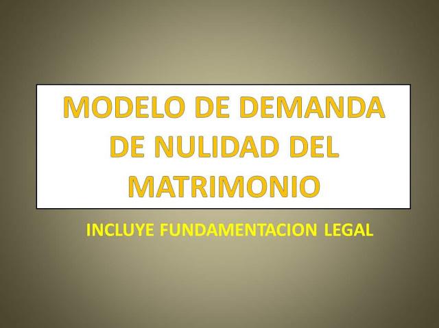 DEMANDA DE NULIDAD DE MATRIMONIO
