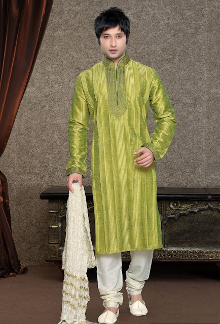 Olive Green & Off White Art Silk Eid Wear Kurta Pajama
