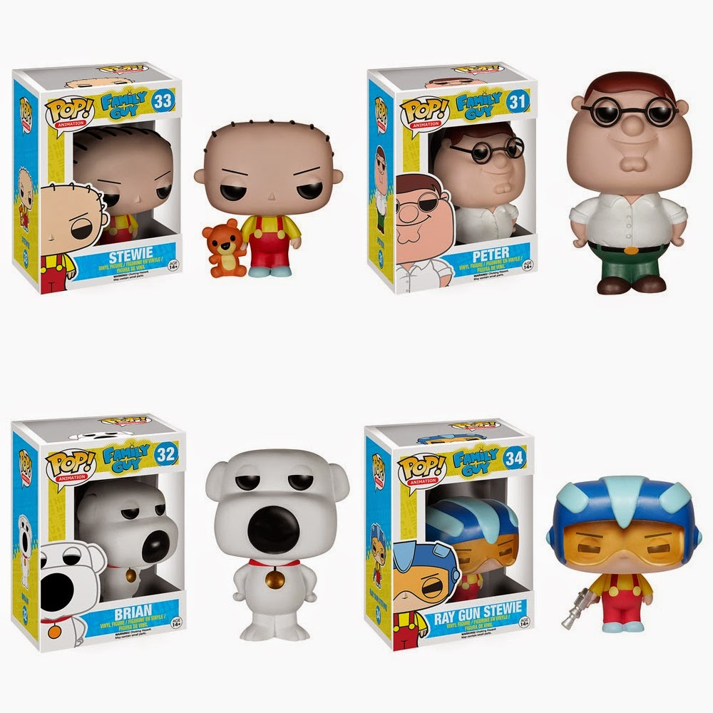 Family Guy Pop! Animation Vinyl Figures by Funko - Stewie, Peter, Brian & Ray Gun Stewie