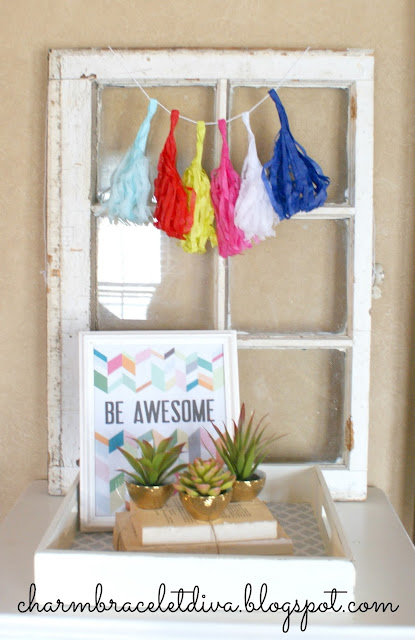 painted tray with contact paper liner cacti vignette