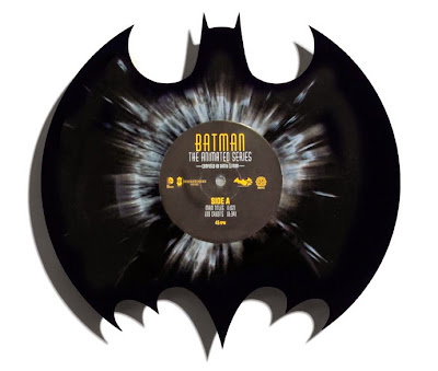 "Batman: The Animated Series Die-Cute 12"" Black with Gray Splatter Single Vinyl Record by Danny Elfman & Phantom City Creative"
