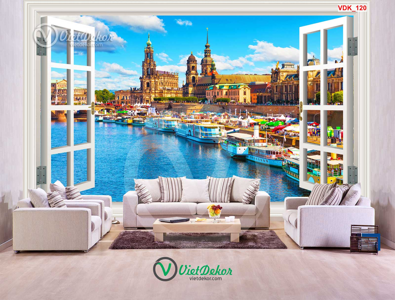 Tranh 3d cửa sổ cho phòng khách đẹp