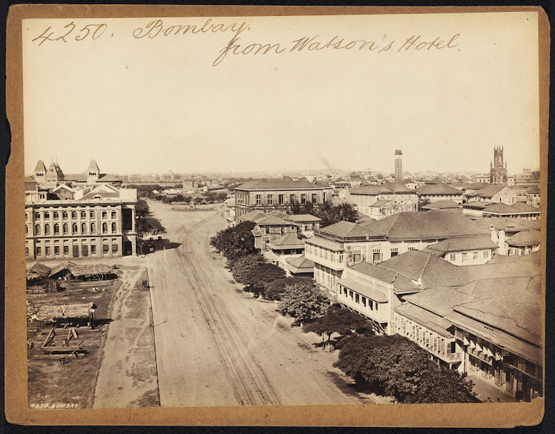 Bombay (Mumbai) from Watson's Hotel - 19th Century photograph