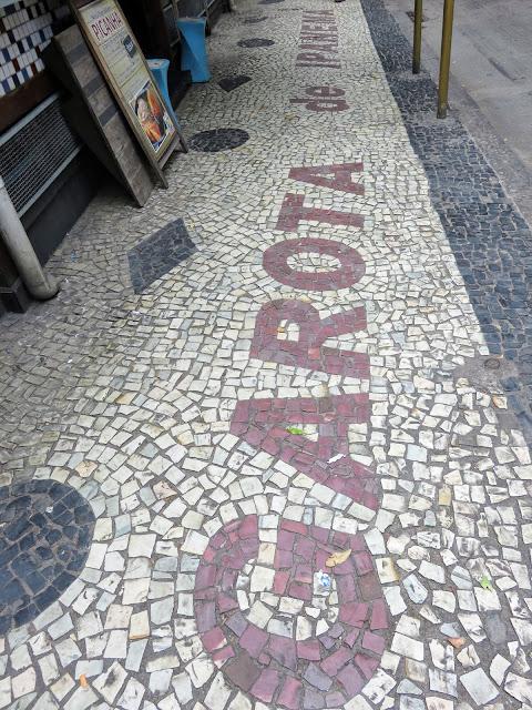 Tile sidewalk outside Garota de Ipanema in Rio de Janeiro Brazil
