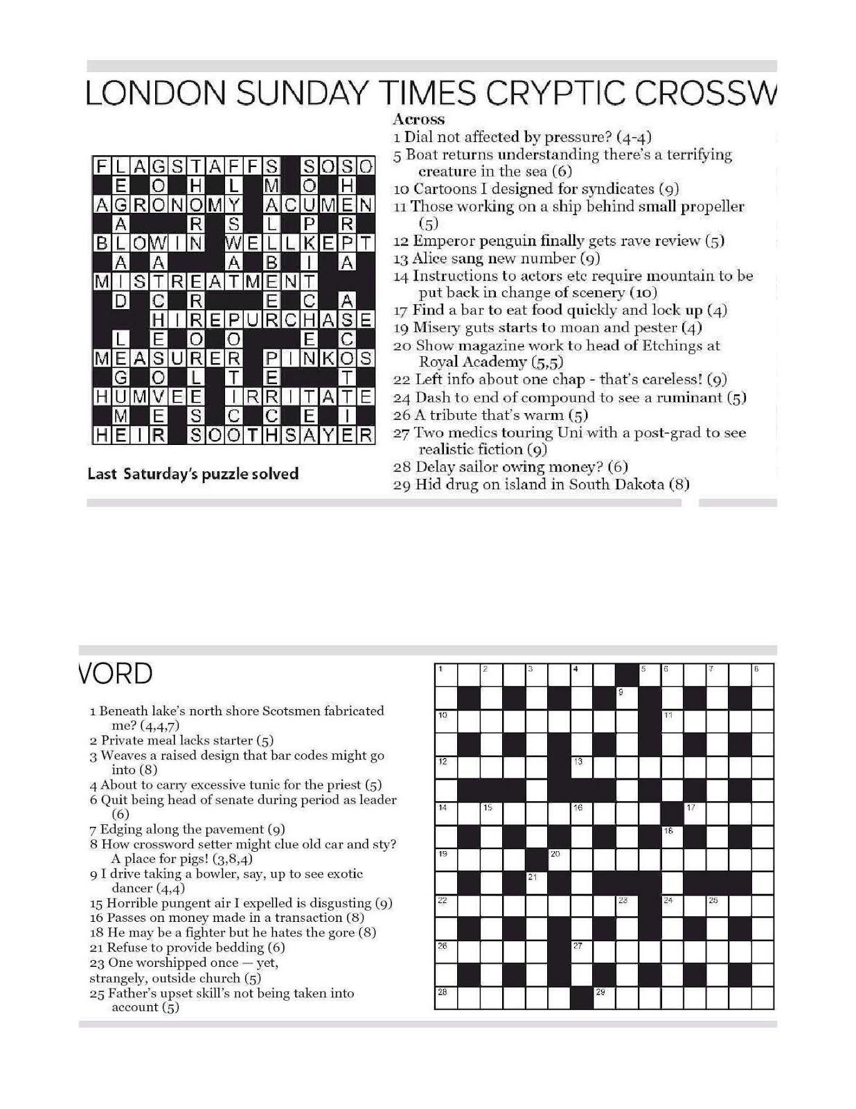 Ottawa Citizen Cryptic Crossword Forum: Sunday, August 5