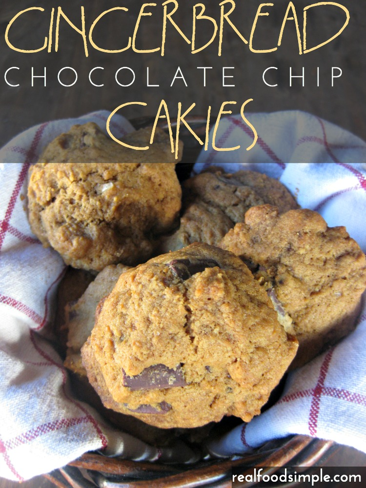 Gingerbread chocolate chip cakies. A cake-like cookie with the subtle flavor if ginger and molasses. These have less sugar than regular cookies and just the right amount of chocolate chips - not too many, not too few.  | realfoodsimple.com