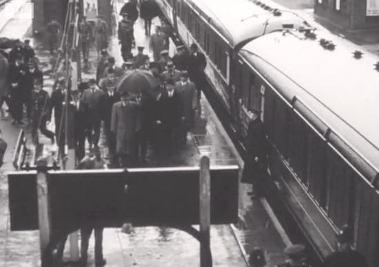 "Eden and Molotov on the platform at Brookmans Park station on 21 May, 1942 Image at 2'30"" in video below Screen grab courtesy of the Imperial War Museum"
