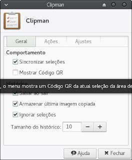 Clipman é um programa para gerenciar a área de