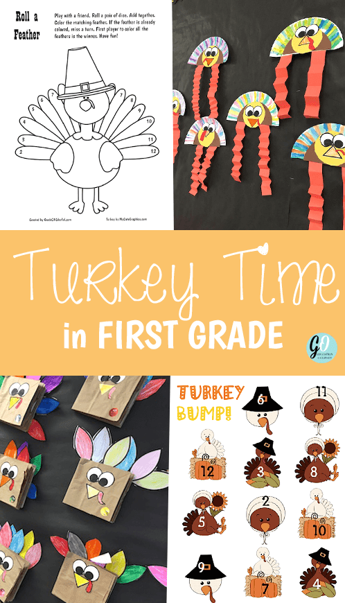 Lots of Thanksgiving Ideas for the primary classroom (K to 2). Roll a Feather math game, Patterned Turkey art, Turkey Bump, Thankful Turkey booklets and MORE! All except one activity is FREE.