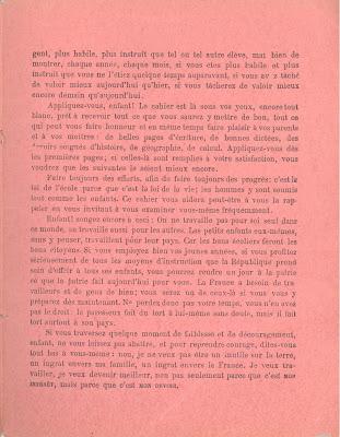 Troisième de couverture d'un cahier de devoirs mensuels, 1894 (collection musée)