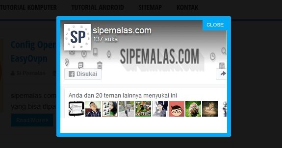 Cara Membuat Widget Like Fanspage Pop Up di Blog