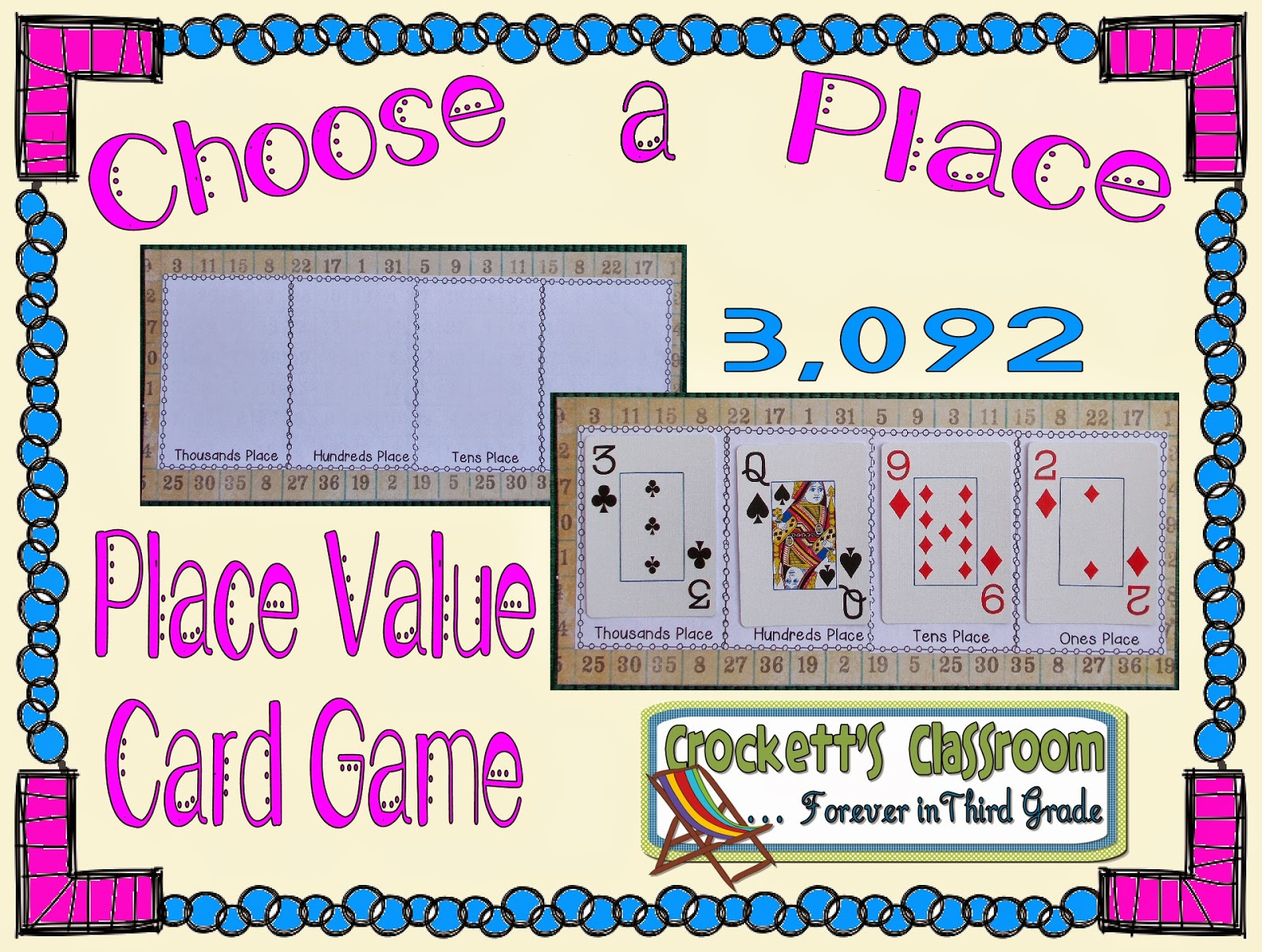 Place value game with cards.  So many ways you could use this!  place value, addition, subtraction, comparing numbers, problem solving, etc.