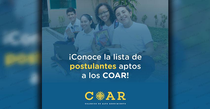 COAR: Lista de Postulantes Aptos para Rendir Evaluación Primera Fase el 15 Febrero 2020 (.PDF) Colegios de Alto Rendimiento - www.minedu.gob.pe