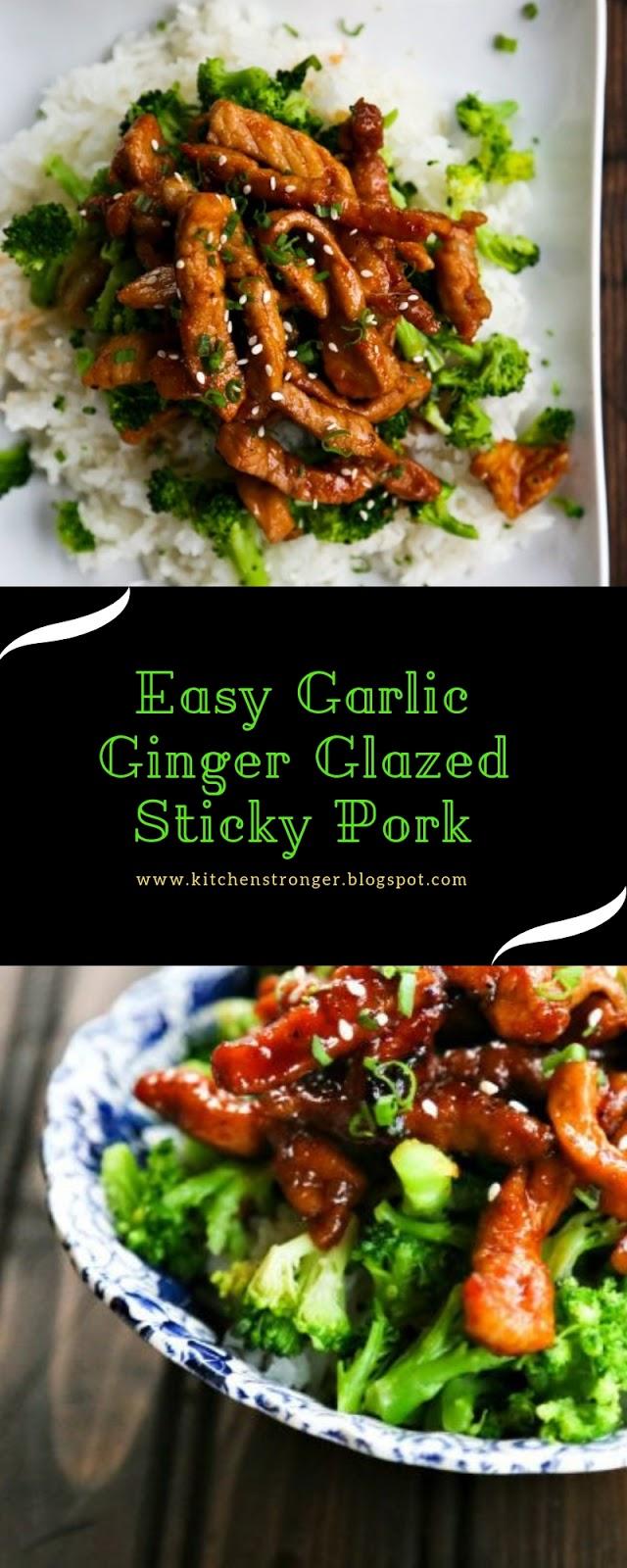 Easy Garlic Ginger Glazed Sticky Pork