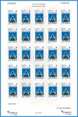 Pliego de sellos personalizados del 20 aniversario de GRUCOMI