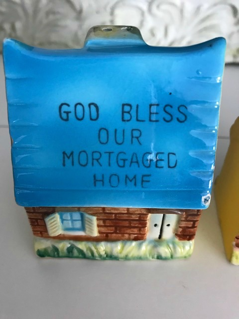 God Bless Our Mortgaged Home blue roof salt pepper shakers 1950's era kitchenware
