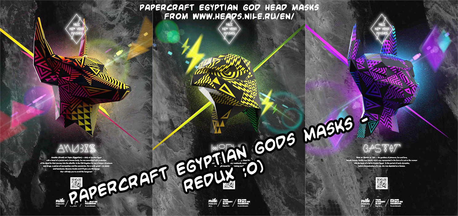Stylish papercraft Nile.ru Egyptian gods masks - redux
