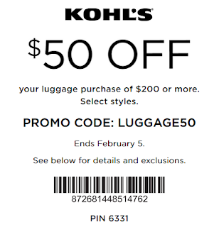 Kohls coupon $50 off $200 luggage purchase Feb 5
