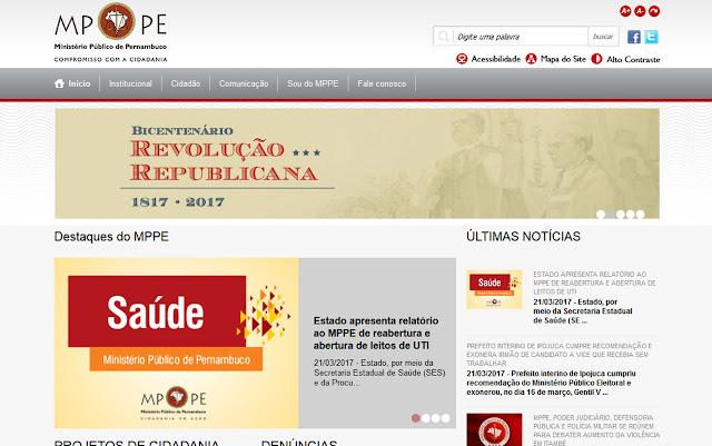 Página na internet do Ministério Público de Pernambuco é hackeada