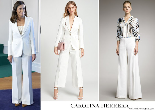 Queen Letizia wore a pantsuit by Carolina Herrera