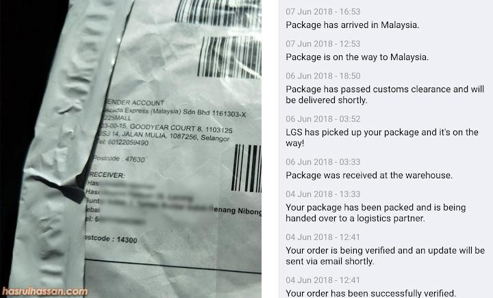 Proses hantar barang beli produk dari luar negara