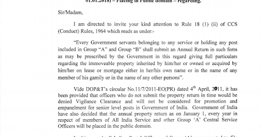 Submission of Annual Immovable property return (IPR) by Group 'A' officers of Department of Posts for the year ending 2017 (as on 01.01.2018)