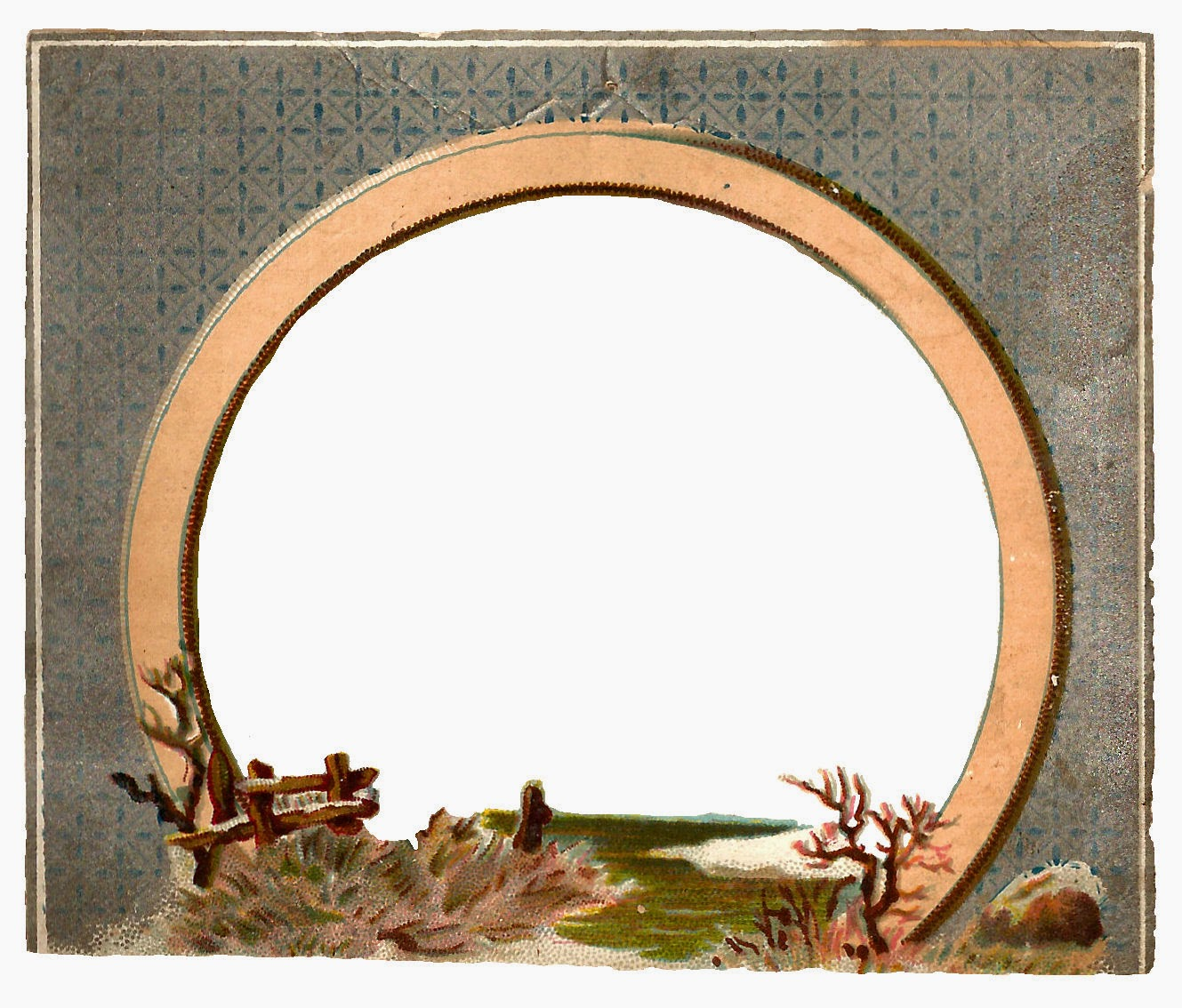 Antique Images: Free Digital Circle Frame with Winter Clip Art of ...
