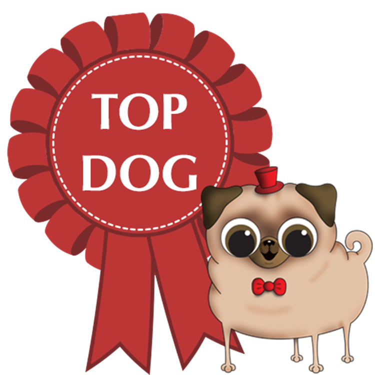 cartoon-dog-next-to-top-dog-rosette