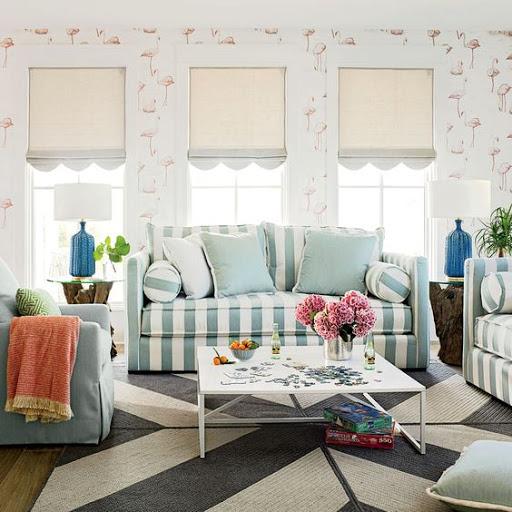Flamingo wallpaper in living room