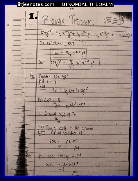 IITJEE Notes on Bimomial Theorem