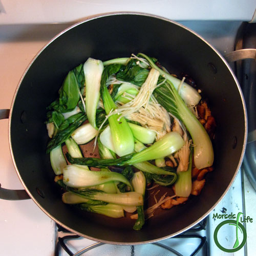 Morsels of Life - Miso Salmon with Bok Choy and Mushrooms Step 5 - Stir fry with remaining materials.