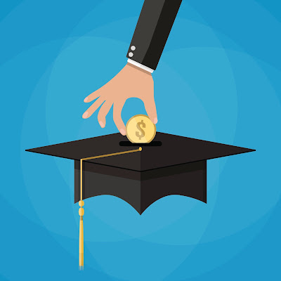image of hand putting coin into graduation cap piggy bank