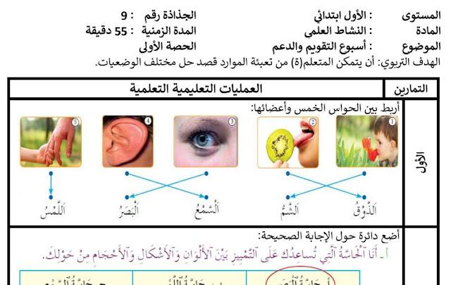 جذاذات الأسبوع 5.الوحدة 1 .أسبوع الدعم الواضح في النشاط العلمي