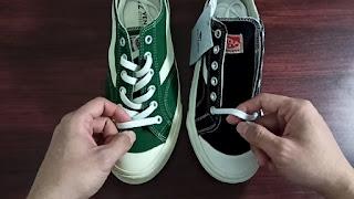 Tali sepatu Ventela yang asli lebar, sedangkan yang palsu tidak lebar.