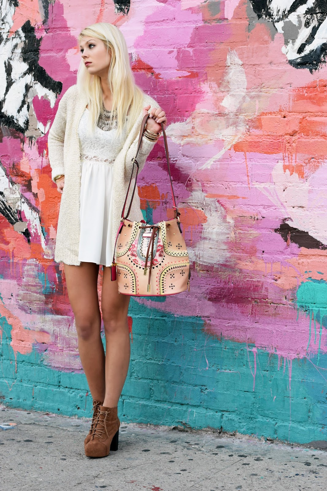 Bucket bag, nicole lee, nicole lee usa, bohemian, boho chic, lace dress, gold cardigan, arts district